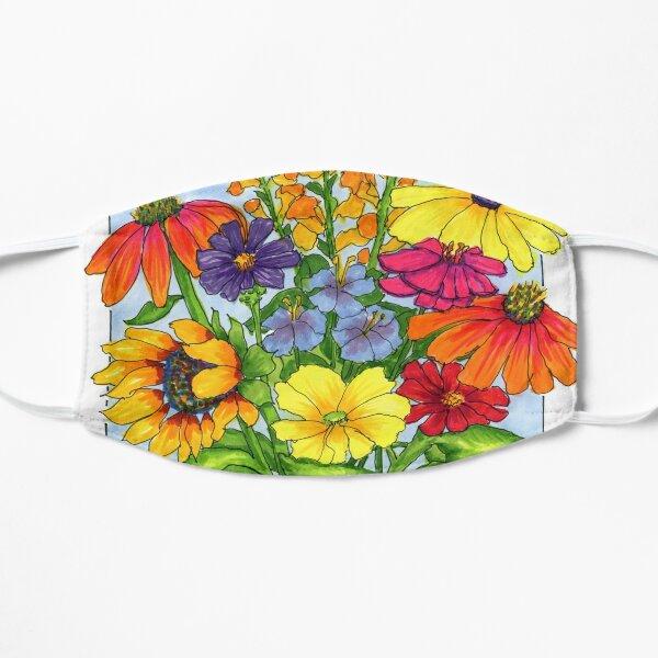 Sommerblumenstrauß mit blauer und weißer orientalischer Glasillustration Maske