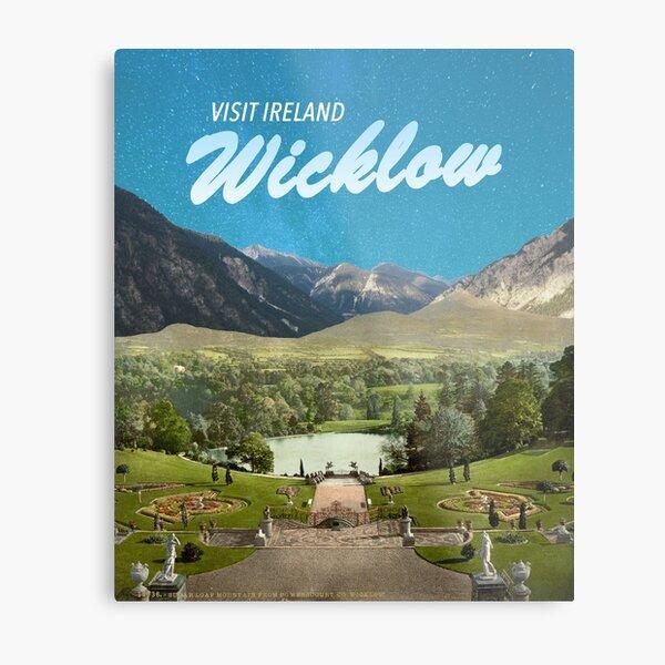 Wicklow, Ireland Travel Poster - Vintage Inspired Surrealist Collage Metal Print