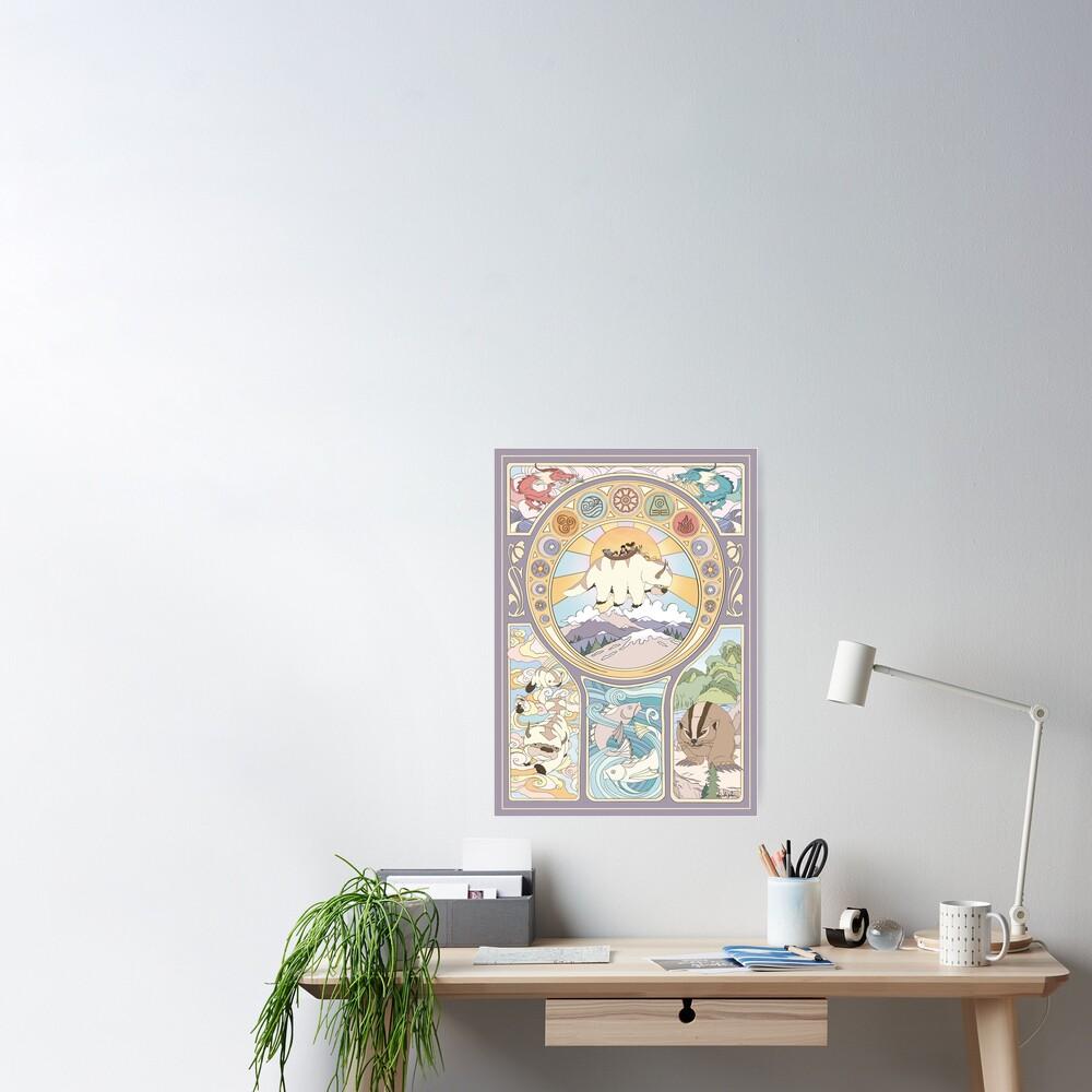 Team Avatar and Original Benders, Art Nouveau Poster