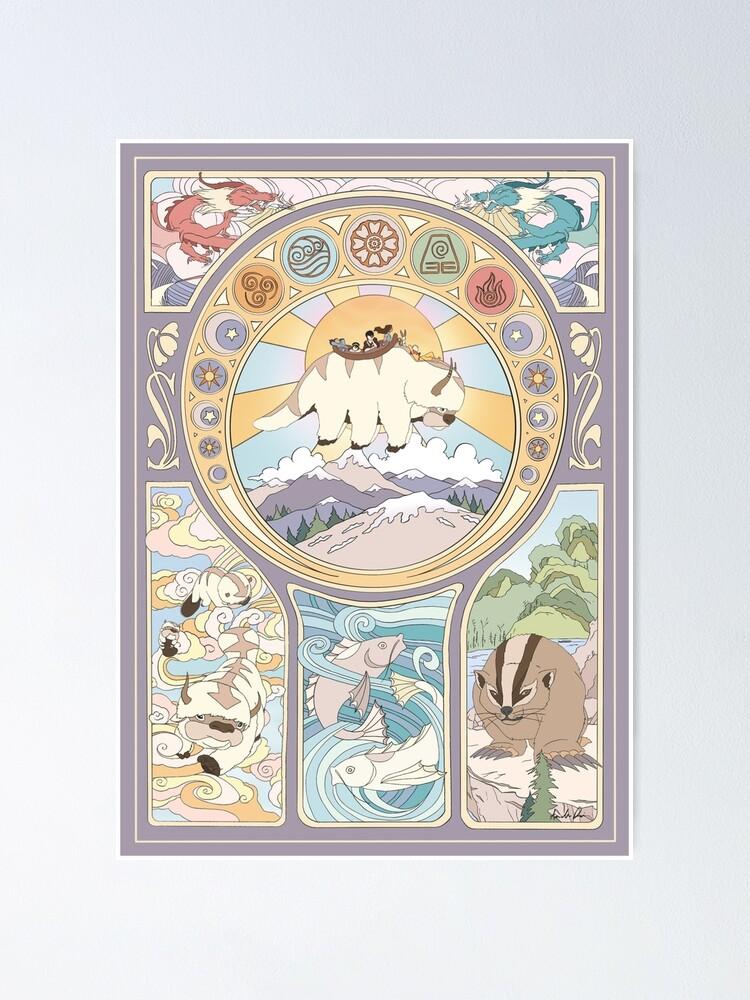Alternate view of Team Avatar and Original Benders, Art Nouveau Poster