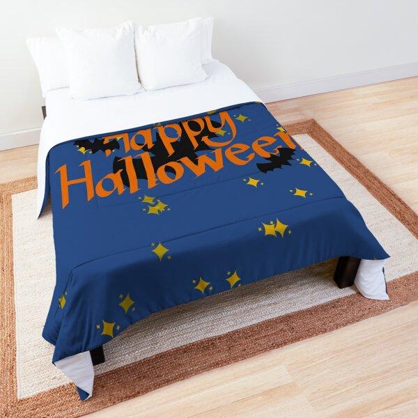 Happy Halloween in the Night Sky with Bats Comforter