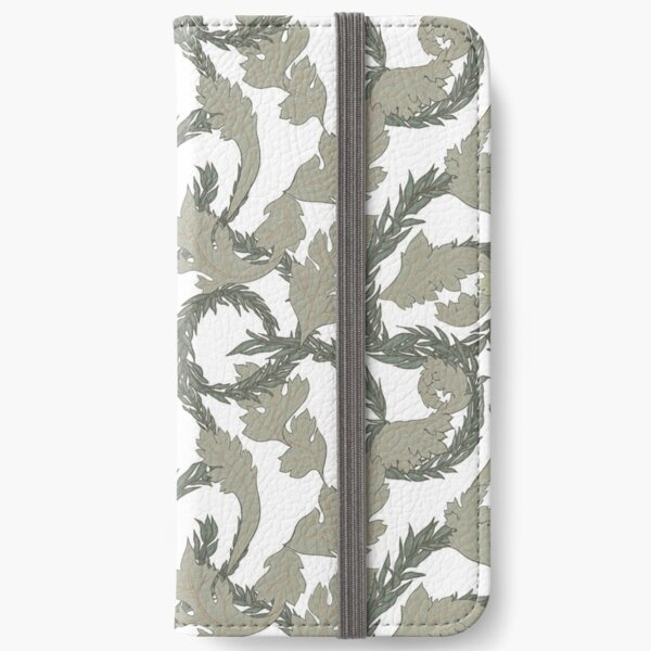 Acanthus Leaves Old Fashioned Floral Pattern iPhone Wallet