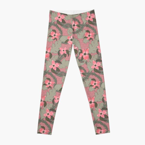 Acanthus Victorian Old Fashioned Floral Pattern Leggings
