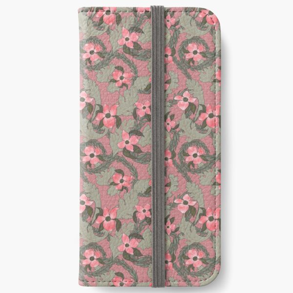 Acanthus Victorian Old Fashioned Floral Pattern iPhone Wallet