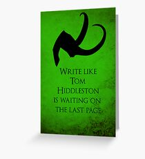 Tom Hiddleston Waits on the Last Page Greeting Card
