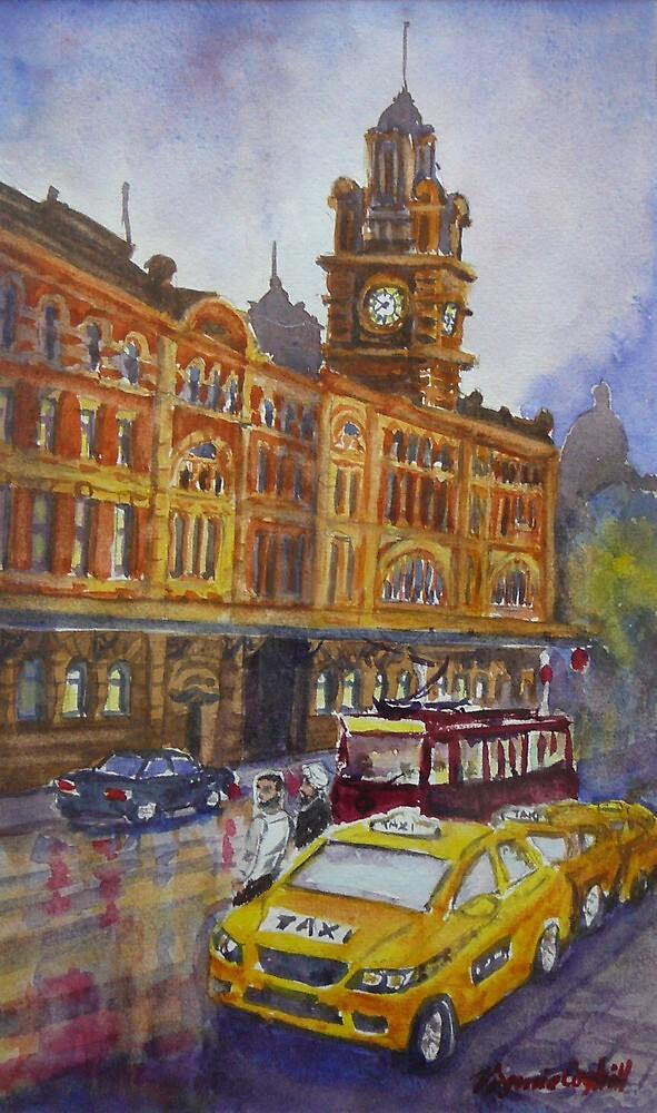 Flinders Street, Melbourne 1 by Virginia  Coghill
