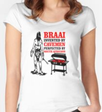 BRAAI SOUTH AFRICAN CAVE MAN Women's Fitted Scoop T-Shirt