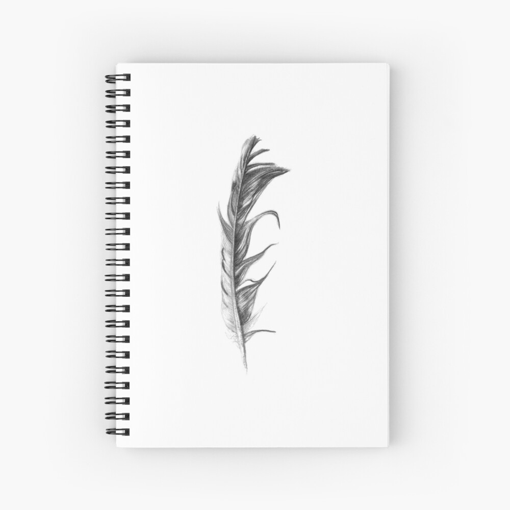 pencil sketch feather spiral notebook by soja redbubble