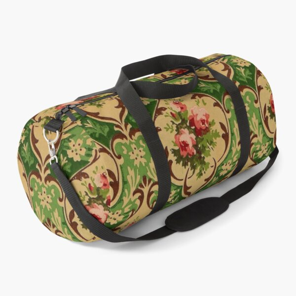Vintage Victorian Roses Wallpaper Duffle Bag