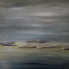 Striated beach pebbles by Linda Ridpath