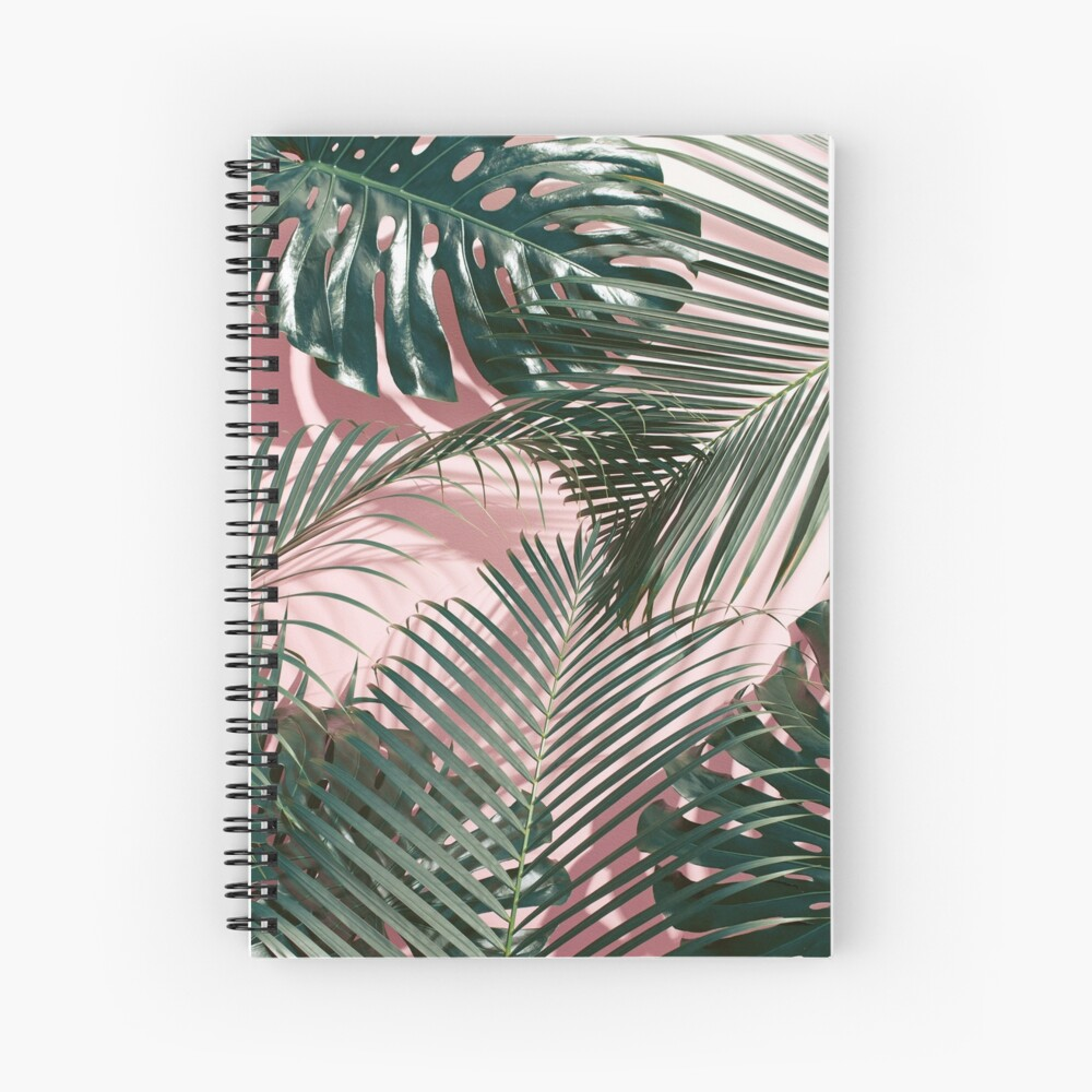 Pink Tropical Leaves Spiral Notebook By Nth4ka Redbubble Download realistic tropical leaves frame for free. pink tropical leaves spiral notebook by nth4ka redbubble