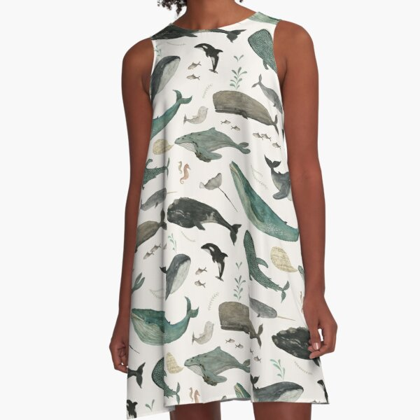 Whale Song A-Line Dress