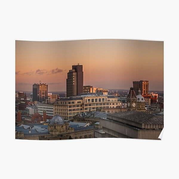Sunset over Birmingham Skyline looking over the Museum and Art Gallery Poster