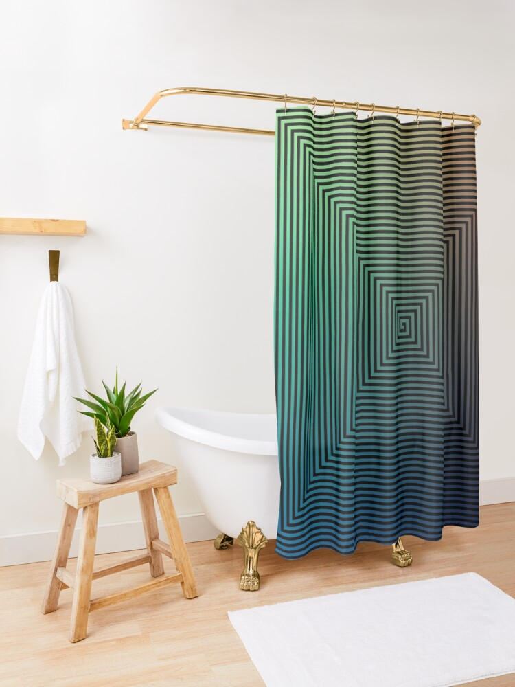 Alternate view of Puzzling World Shower Curtain