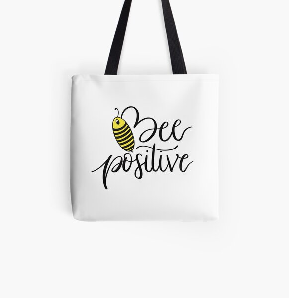 Bee Positive All Over Print Tote Bag