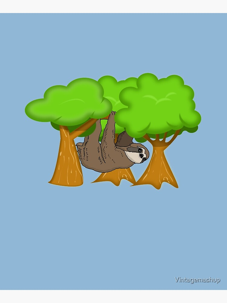 Cute Sloth Hanging From A Tree, Sloth Gift by Vintagemashup