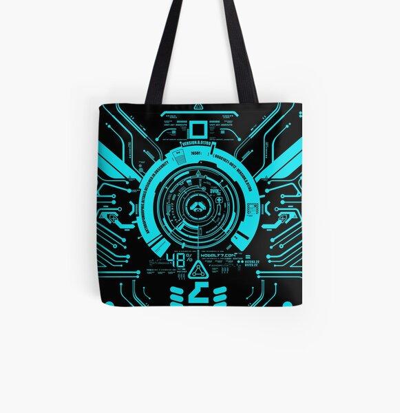 Hi tech tron center aqua All Over Print Tote Bag
