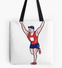 Marathon Runner Winning Cartoon Tote Bag