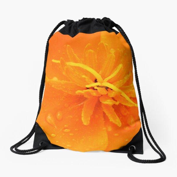 California poppy with raindrops Drawstring Bag