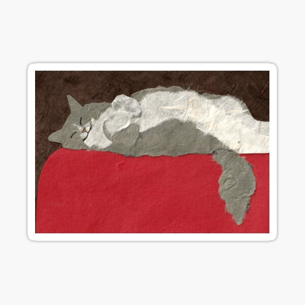 Fluffy Gray Cat on Red Sticker