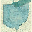 Ohio Map Blue Vintage by HubertRoguski