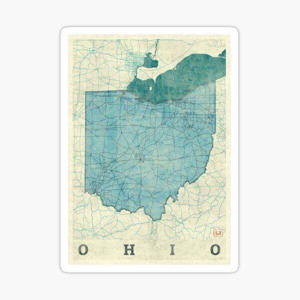Ohio Map Blue Vintage Sticker