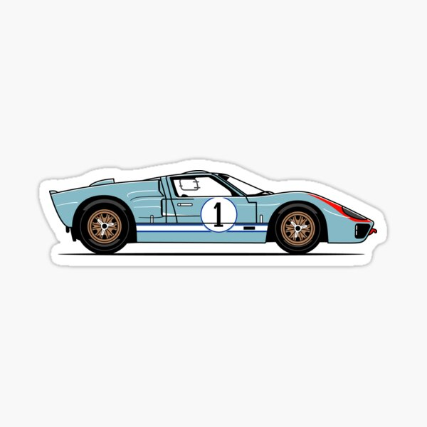 GT40 Miles Race Car Sticker