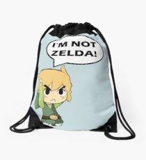 I'm Not Zelda Drawstring Bag