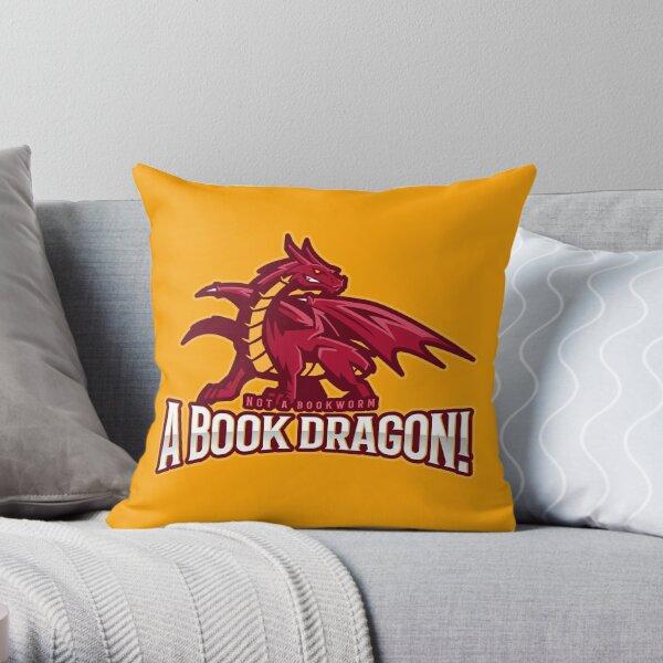 A Book Dragon Throw Pillow