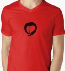 Ink Heart in Red Mens V-Neck T-Shirt
