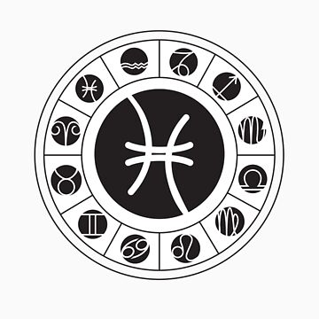 Pisces Zodiac Wheel with I Ching Hexagrams by DesigningChris