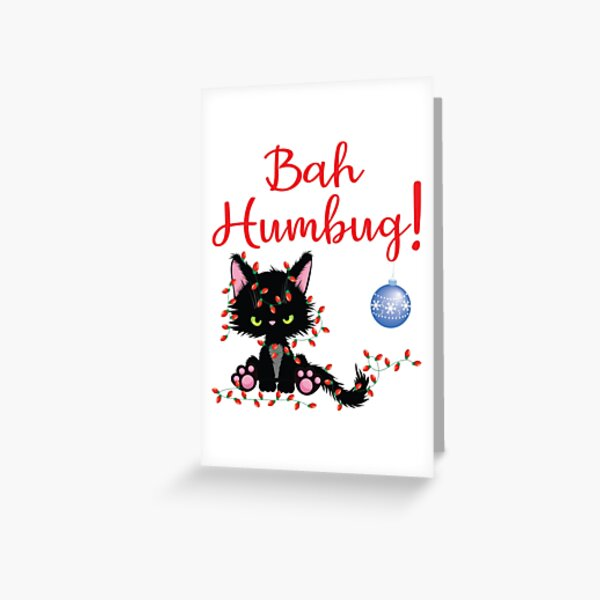 Bah Humbug! Grumpy Kitty Cat tangled in Christmas Lights Greeting Card