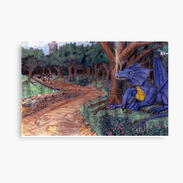Lying In Wait - Dragon and Maiden Canvas Print