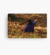 """Parker in the Autumn Leaves "" Canvas Print"