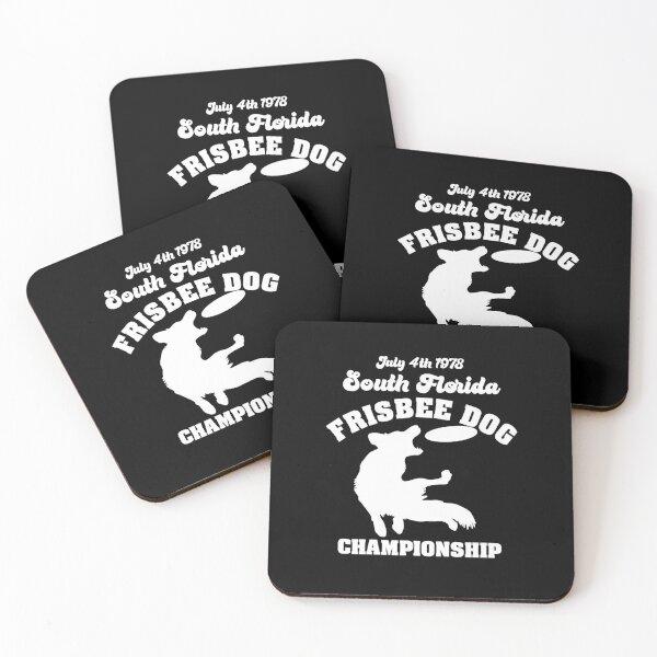 Frisbee Dog Championship (white) Coasters (Set of 4)
