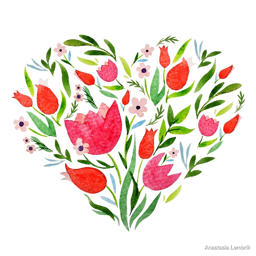 Heart with flowers, I love you! by Anastasia Lembrik