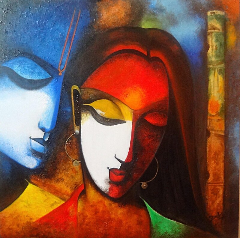 """Radha Krishna modern art"" by Sheetal Bhonsle 
