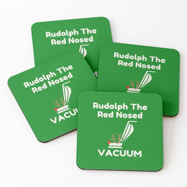 Rudolph The Red-Nosed Vacuum, Cleaning Crew, Housekeeper Fun Coasters (Set of 4)