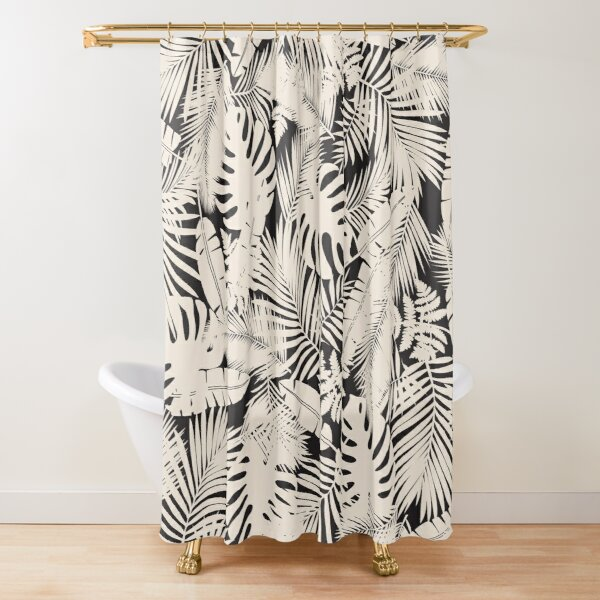 Tropical Leaves in Black and Ivory Shower Curtain