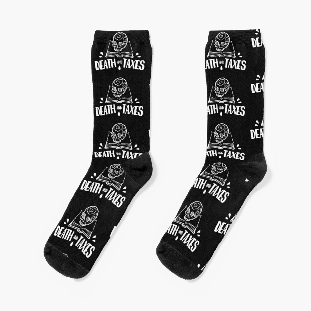 Death and Taxes, Simplistic Logo in White Socks