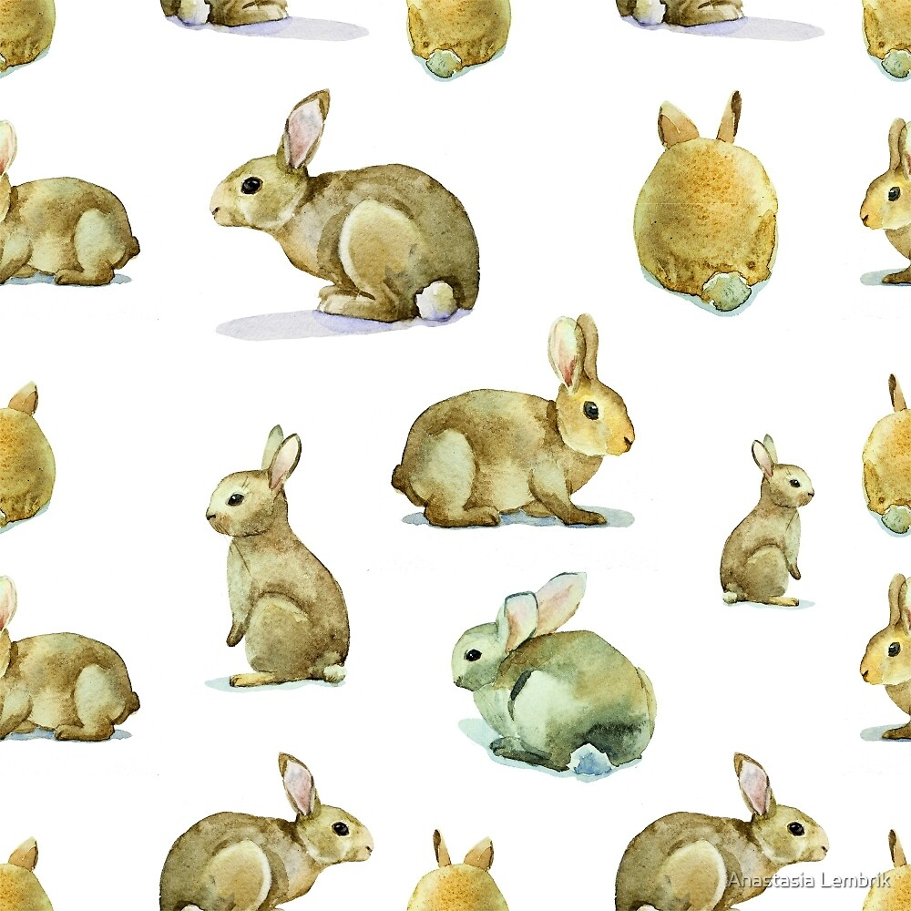 watercolor seamless pattern rabbit, hare watercolor by Anastasia Lembrik