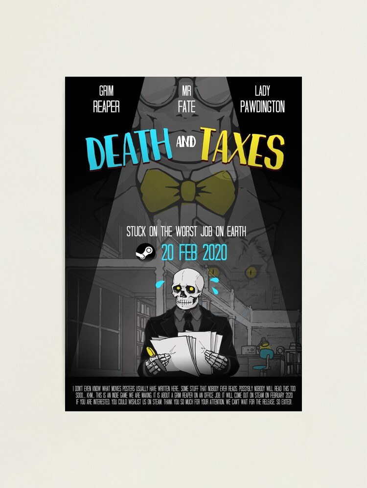 Alternate view of Death and Taxes Movie Poster Photographic Print