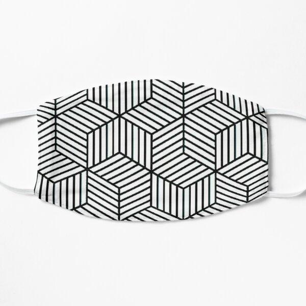 Black and White Isometric Cube Pattern Flat Mask