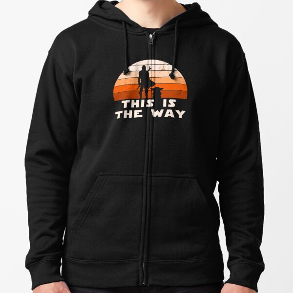 Mando Retro This is The Way and the Baby Sunset  Zipped Hoodie