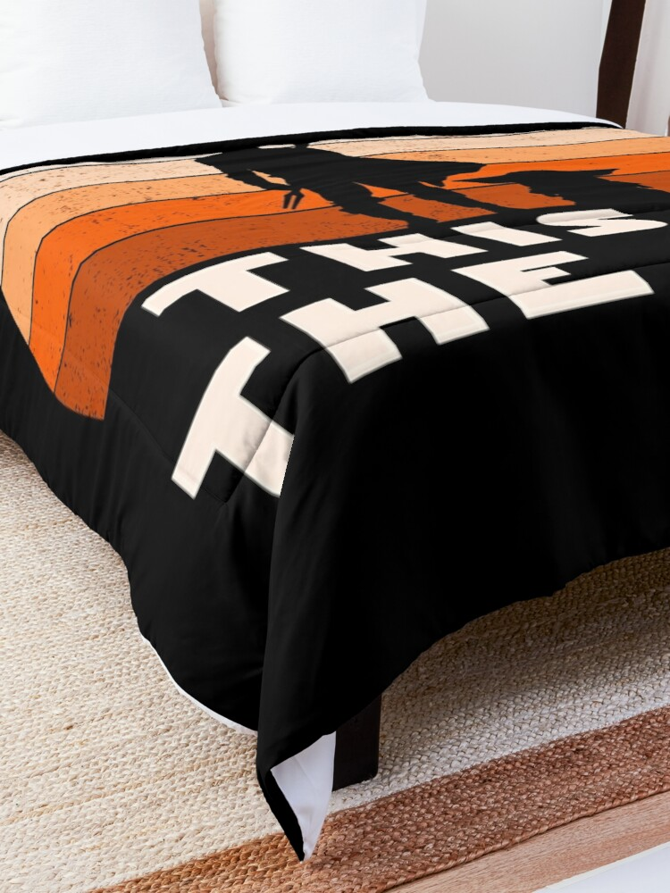 Alternate view of Mando Retro This is The Way and the Baby Sunset  Comforter