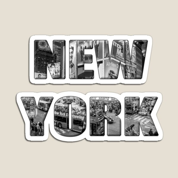 New York (b&w photo filled flat type on white) Magnet