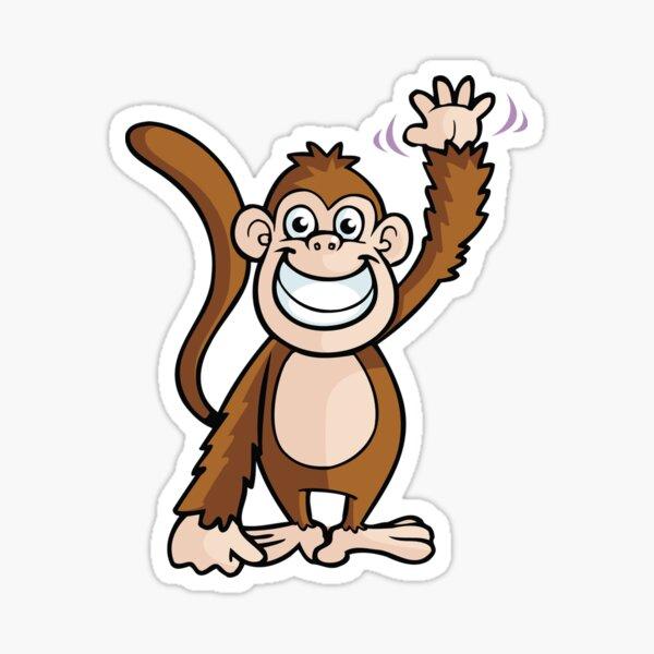 Cute Cartoon Monkey Waving Sticker