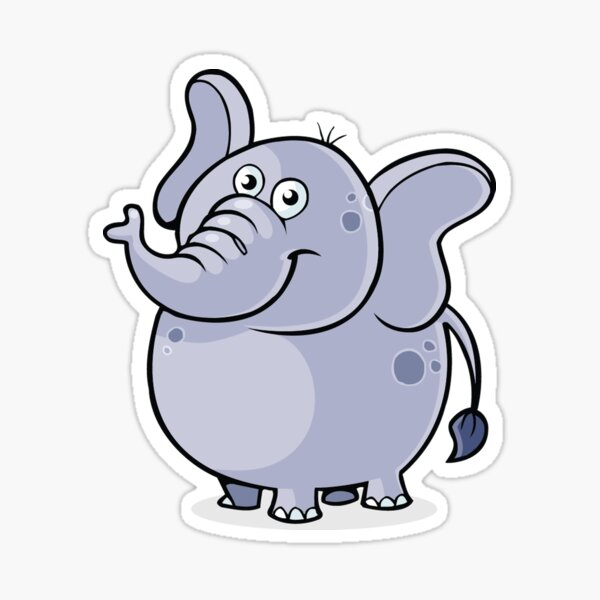 Cute Cartoon Elephant Animal Sticker