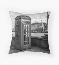 Black And White telephone Box Throw Pillow