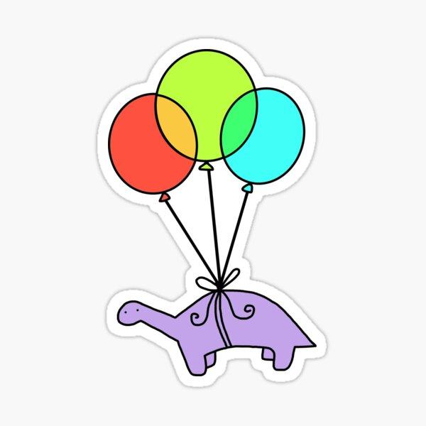 dino volando con globos Pegatina